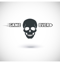 Game over symbol with skull vector