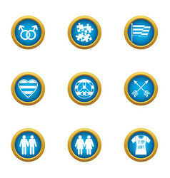 gay marriage icons set flat style vector image