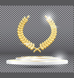 Gold laurel wreath on podium on transparent vector