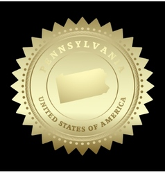Gold star label Pennsylvania vector