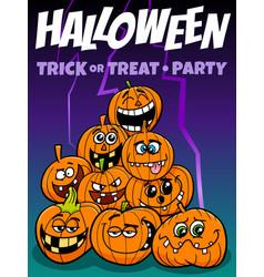 halloween holiday cartoon design with pumpkins vector image