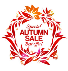 Hand drawing autumn floral label with sales vector