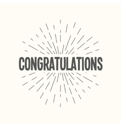hand drawn sunburst - congratulations vector image