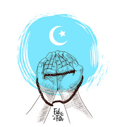 Hand praying drawn on white background blue vector
