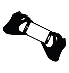 hands holding a cellphone vector image