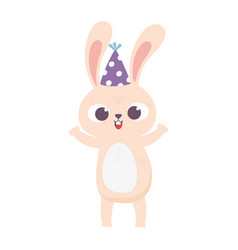 happy birthday cute little rabbit with party hat vector image