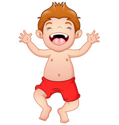 Happy little boy in swimsuit standing vector