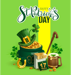 happy st patricks day text greeting card patrick vector image