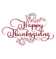 happy thanksgiving red text with vintage vector image vector image