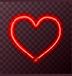 heart-shaped bright red neon frame template vector image