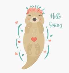 Hello spring card with otter vector