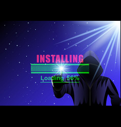Hooded man hacker and loading bar vector