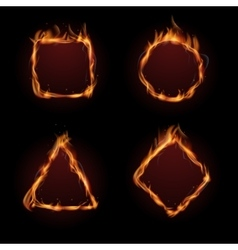 Hot fire flame frame set vector