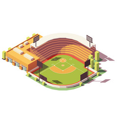 Isometric low poly baseball park vector