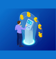 Isometric modern bitcoin atm cryptocurrency cash vector
