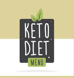 keto diet menu label or poster flat concept vector image