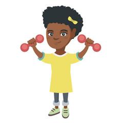 little smiling african girl holding dumbbells vector image vector image