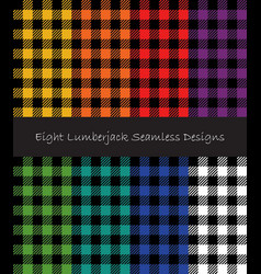 Lumberjack seamless patterns collection vector