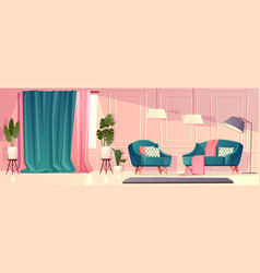 Luxury living room in pink color vector