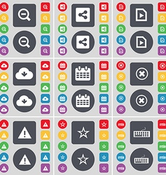 Magnifying glass Share Media file Cloud Calendar vector