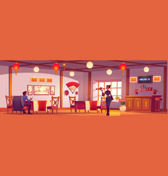 Man and waitress in chinese or japanese restaurant vector