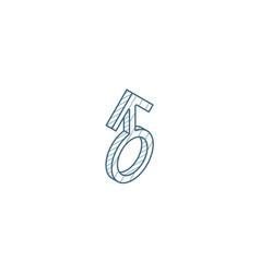 man symbol isometric icon 3d line art technical vector image