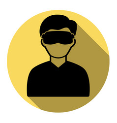 man with sleeping mask sign flat black vector image