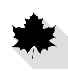 maple leaf sign black icon with flat style shadow vector image