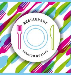 menu restaurant with cutlery set vector image