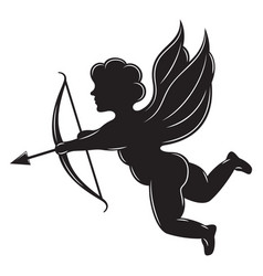 monochrome with angel cupid and arrow vector image