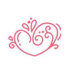 monoline red valentines day hand drawn vector image