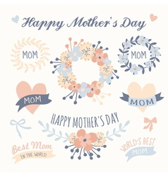 Mothers day beautiful floral design elements set vector