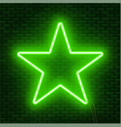 Neon glowing star sign can be used as a text vector