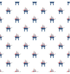 Oil platform at sea pattern vector