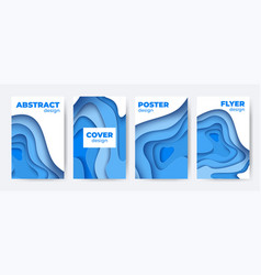 paper cut abstract poster set 3d colorful vector image