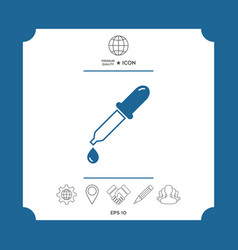 Pipette icon with drop vector