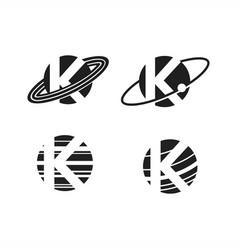 planet letter k logo vector image