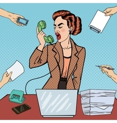 Pop art business woman screaming into the phone vector