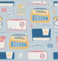 Primary light gray vintage radios seamless vector