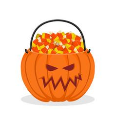 Pumpkin basket for halloween trick or treat corn vector