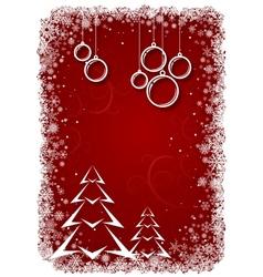 Red Christmas background with bolls and tree vector