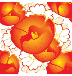 Retro a background with red poppies vector