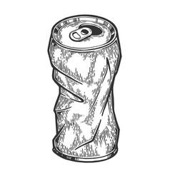 Rumpled metal can sketch engraving vector