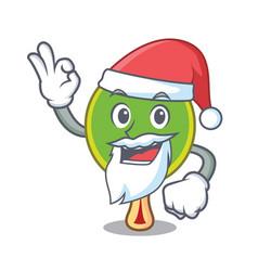 Santa ping pong racket mascot cartoon vector