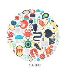 seafood food flat infographics icons in circle vector image
