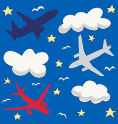 seamless baby pattern with flying planes and cloud vector image