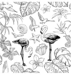 seamless watercolor pattern with tropical flowers vector image