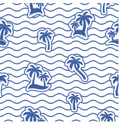 seamless wavy line pattern with palms vector image
