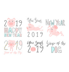 set of 2019 text design pattern with cute pigs vector image