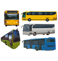 Set of buses vector